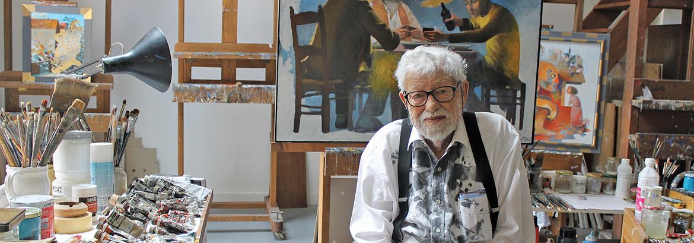 Arcabas dans son atelier - Photo : Aurélie Sobocinski