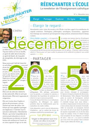 Newsletter Réenchanter l'École n°2 - Décembre 2015