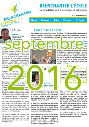 Une newsletter Réenchanter l'École n°9 - Septembre 2016