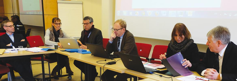 À droite : les responsables de l'Onisep accueillis au Sgec par Jean-Marc Petit et Véronique Borocco.
