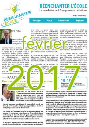 Newsletter Réenchanter l'École numéro 13 - Février 2017